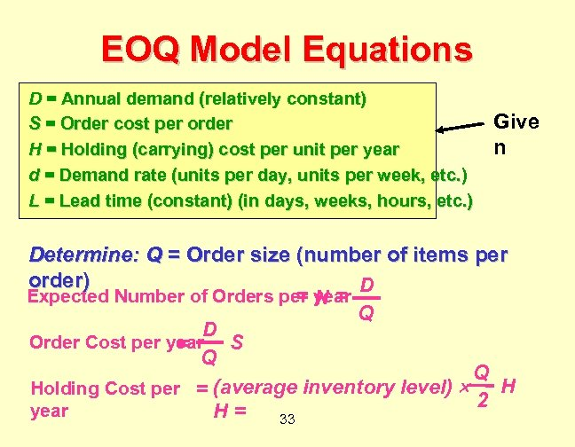 EOQ Model Equations D = Annual demand (relatively constant) S = Order cost per
