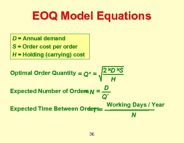 EOQ Model Equations D = Annual demand S = Order cost per order H