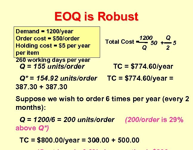 EOQ is Robust Demand = 1200/year Order cost = $50/order Holding cost = $5