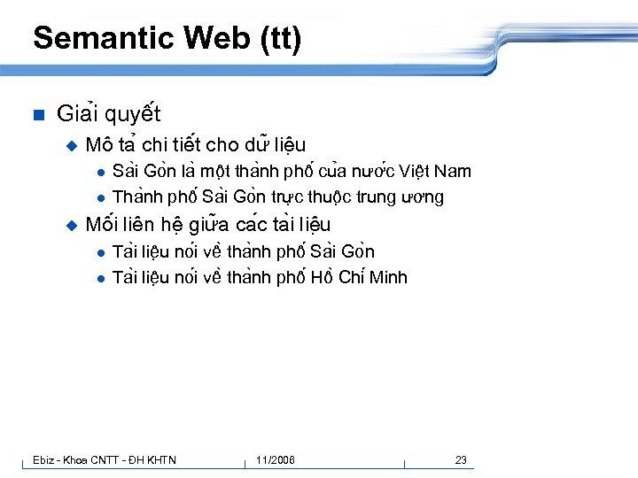 Semantic Web (tt) n Gia i quyê t u Mô ta chi tiê t