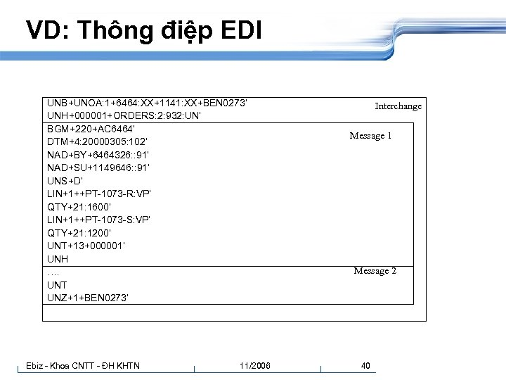 VD: Thông điệp EDI UNB+UNOA: 1+6464: XX+1141: XX+BEN 0273' UNH+000001+ORDERS: 2: 932: UN' BGM+220+AC