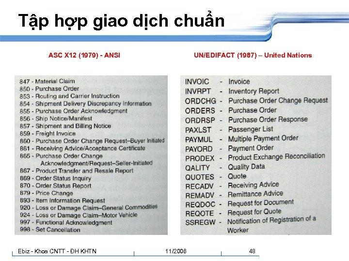 Tập hợp giao dịch chuẩn ASC X 12 (1979) - ANSI Ebiz - Khoa