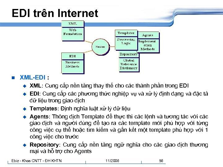 EDI trên Internet n XML-EDI : u u u XML: Cung cấp nền tảng