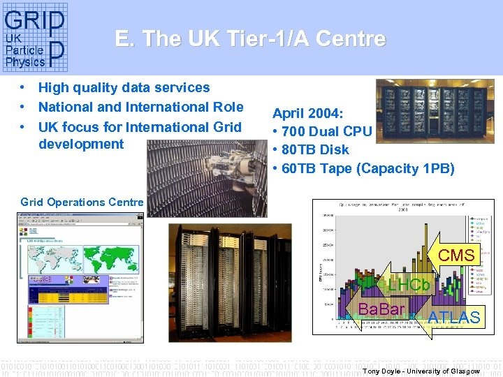 E. The UK Tier-1/A Centre • High quality data services • National and International
