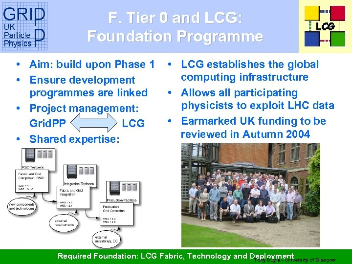 F. Tier 0 and LCG: Foundation Programme • Aim: build upon Phase 1 •