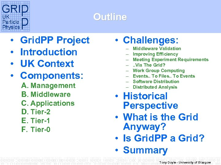 Outline • • Grid. PP Project Introduction UK Context Components: A. Management B. Middleware