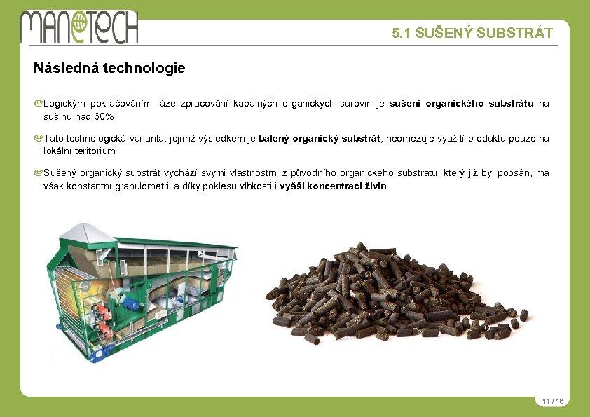 5. 1 SUŠENÝ SUBSTRÁT Následná technologie Logickým pokračováním fáze zpracování kapalných organických surovin je
