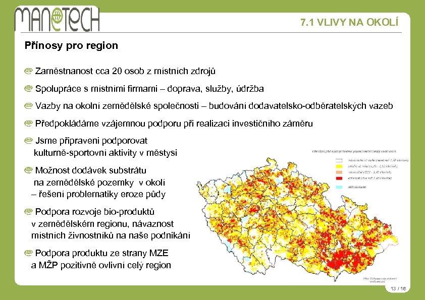 7. 1 VLIVY NA OKOLÍ Přínosy pro region Zaměstnanost cca 20 osob z místních