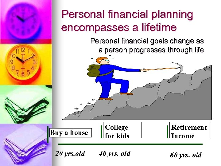 Personal financial planning encompasses a lifetime Personal financial goals change as a person progresses