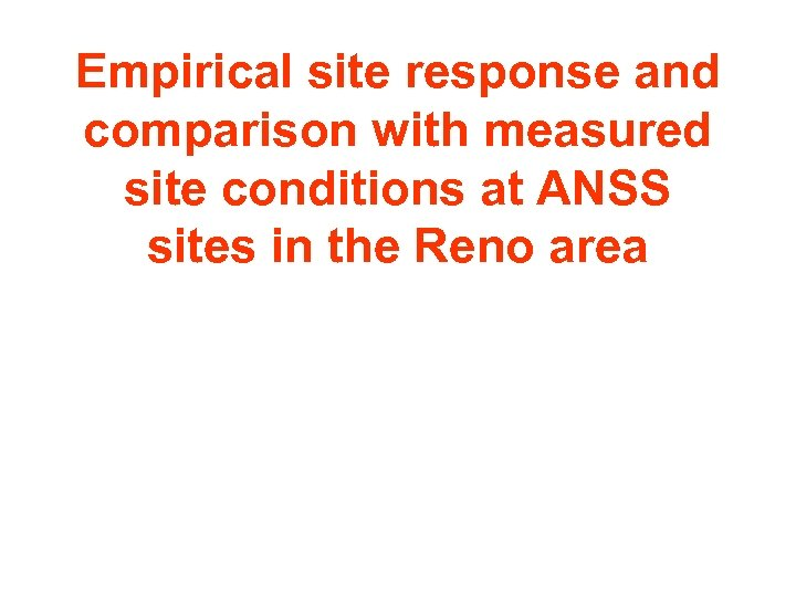 Empirical site response and comparison with measured site conditions at ANSS sites in the
