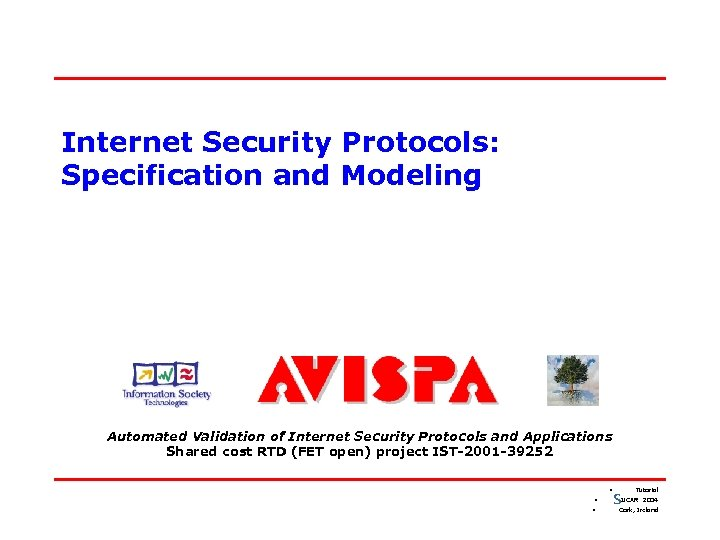 Internet Security Protocols: Specification and Modeling Automated Validation of Internet Security Protocols and Applications