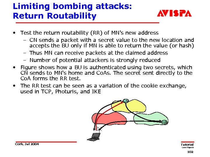 Limiting bombing attacks: Return Routability • Test the return routability (RR) of MN's new