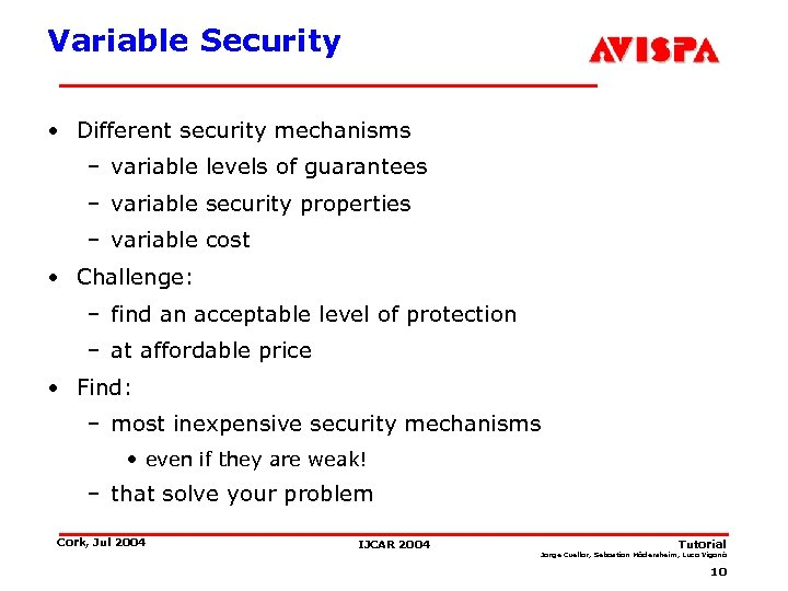 Variable Security • Different security mechanisms – variable levels of guarantees – variable security