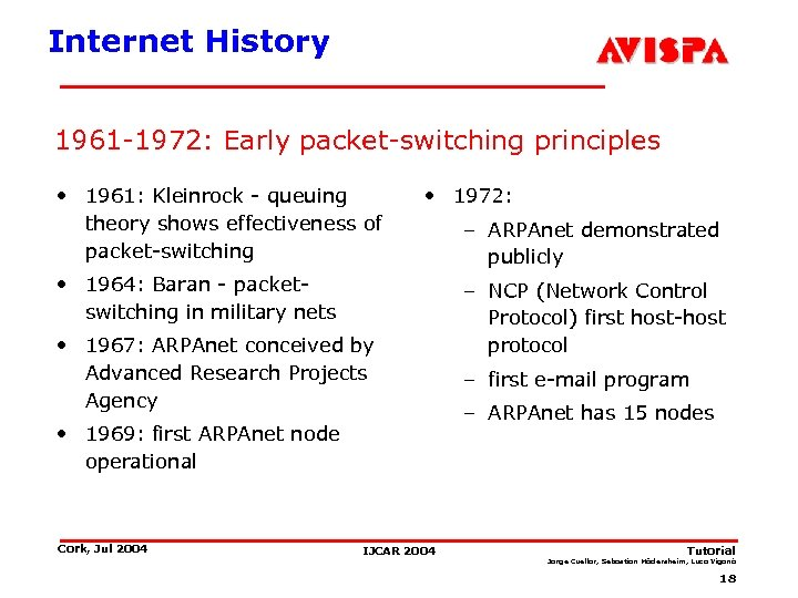 Internet History 1961 -1972: Early packet-switching principles • 1961: Kleinrock - queuing theory shows