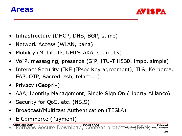 Areas • Infrastructure (DHCP, DNS, BGP, stime) • Network Access (WLAN, pana) • Mobility