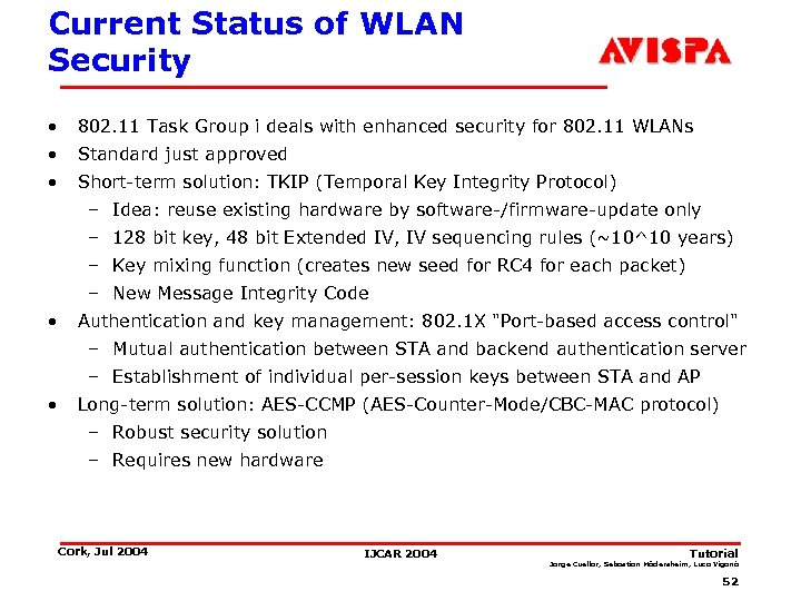 Current Status of WLAN Security • 802. 11 Task Group i deals with enhanced