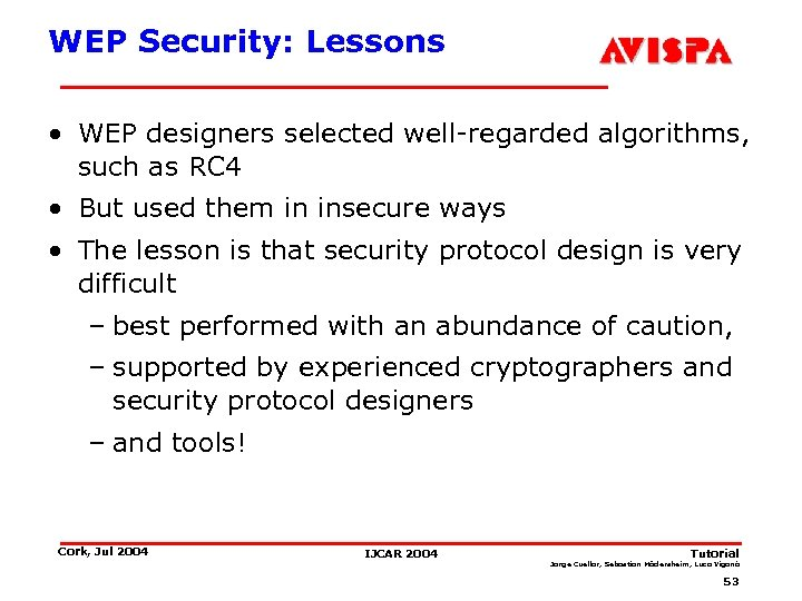 WEP Security: Lessons • WEP designers selected well-regarded algorithms, such as RC 4 •