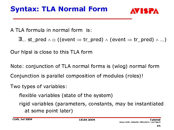 Syntax: TLA Normal Form A TLA formula in normal form is: … st_pred □
