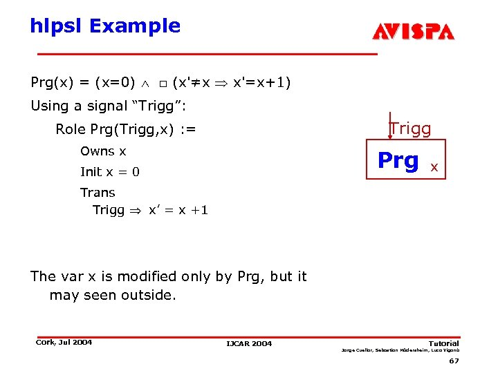 "hlpsl Example Prg(x) = (x=0) □ (x'≠x x'=x+1) Using a signal ""Trigg"": Trigg Role"