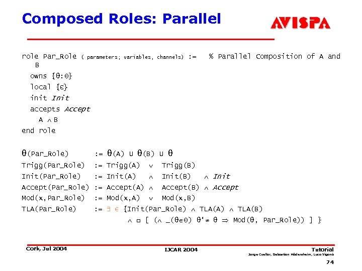 Composed Roles: Parallel role Par_Role B ( parameters; variables, channels) : = % Parallel
