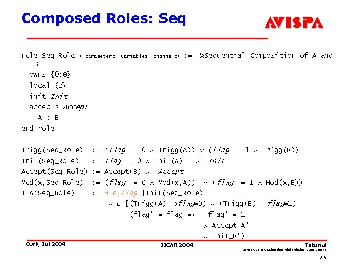 Composed Roles: Seq role Seq_Role B ( parameters; variables, channels) : = %Sequential Composition