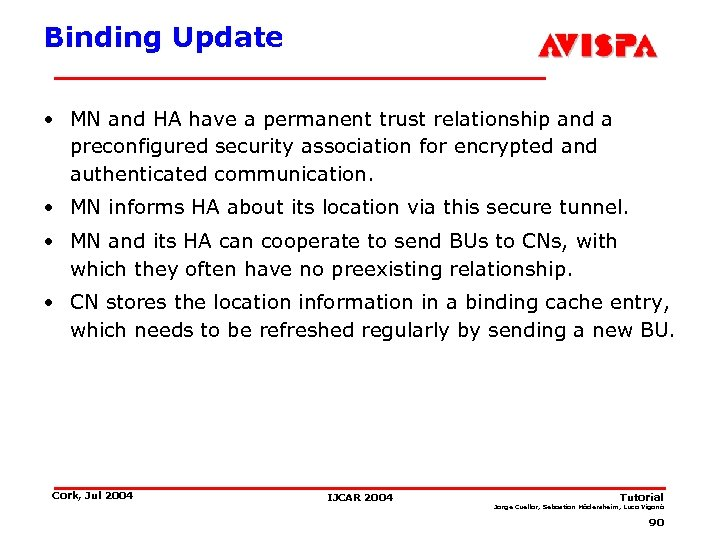 Binding Update • MN and HA have a permanent trust relationship and a preconfigured