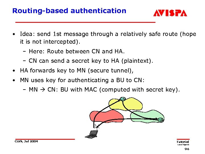 Routing-based authentication • Idea: send 1 st message through a relatively safe route (hope