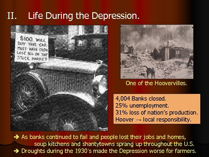 II. Life During the Depression. One of the Hoovervilles. 4, 004 Banks closed. 25%