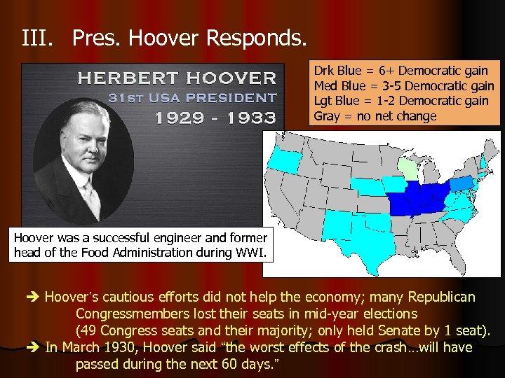 III. Pres. Hoover Responds. Drk Blue = 6+ Democratic gain Med Blue = 3