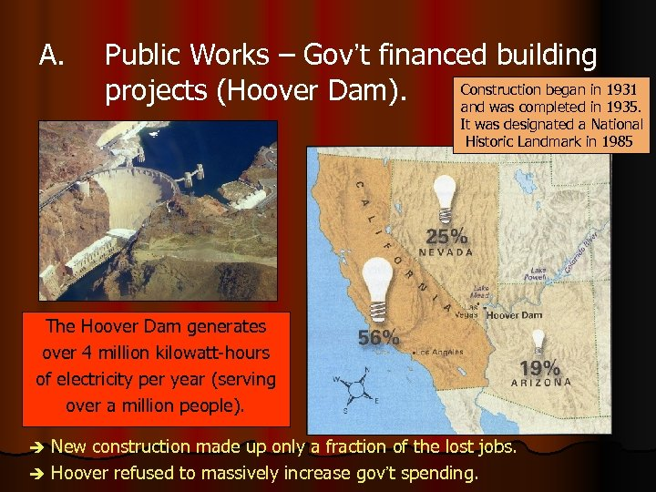 A. Public Works – Gov't financed building Construction began in 1931 projects (Hoover Dam).