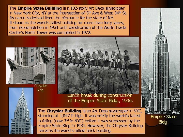 The Empire State Building is a 102 -story Art Deco skyscraper in New York
