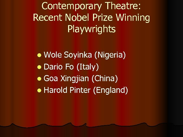 Contemporary Theatre: Recent Nobel Prize Winning Playwrights l Wole Soyinka (Nigeria) l Dario Fo