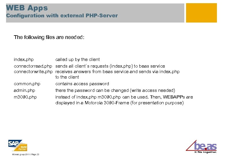 WEB Apps Configuration with external PHP-Server The following files are needed: index. php called