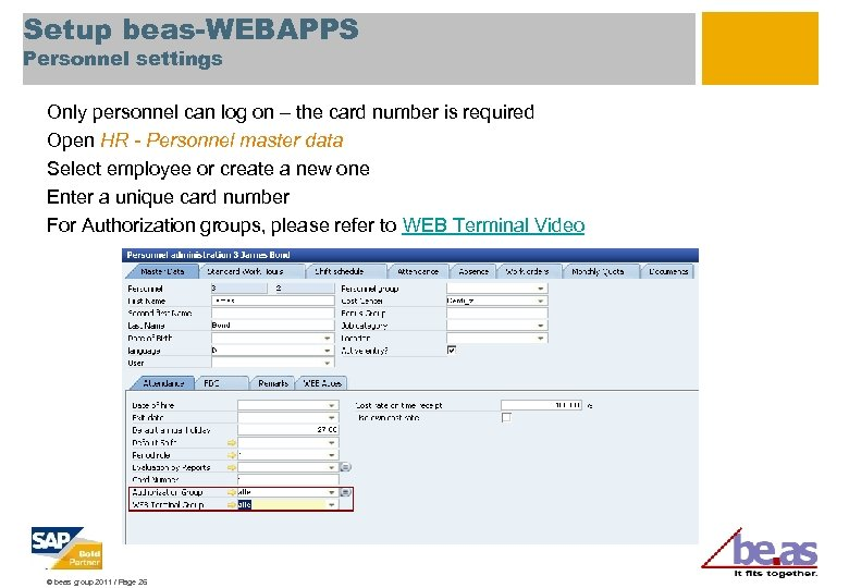 Setup beas-WEBAPPS Personnel settings Only personnel can log on – the card number is