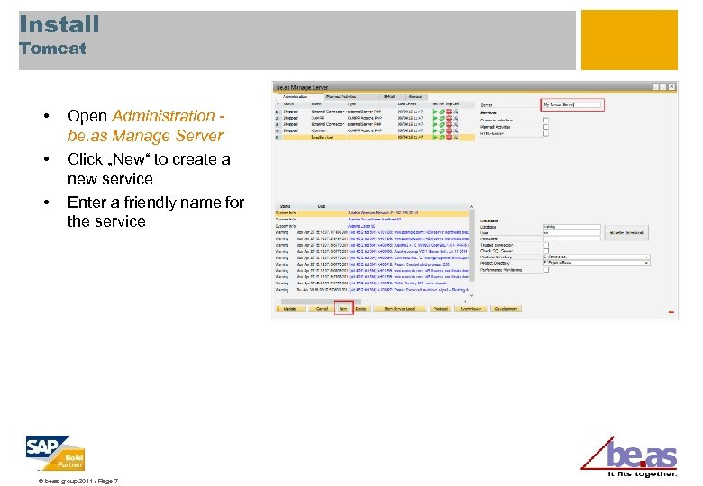 """Install Tomcat • • • Open Administration be. as Manage Server Click """"New"""" to"""