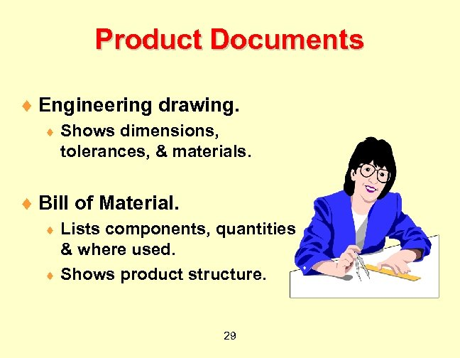 Product Documents ¨ Engineering drawing. ¨ Shows dimensions, tolerances, & materials. ¨ Bill of
