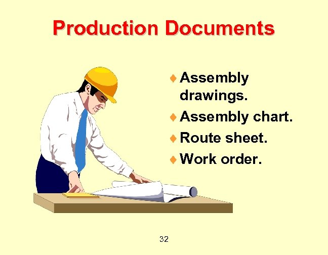 Production Documents ¨ Assembly drawings. ¨ Assembly chart. ¨ Route sheet. ¨ Work order.