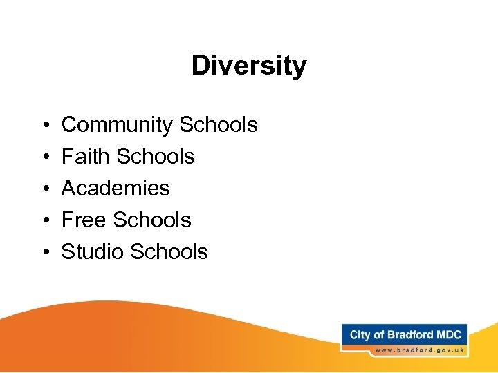 Diversity • • • Community Schools Faith Schools Academies Free Schools Studio Schools