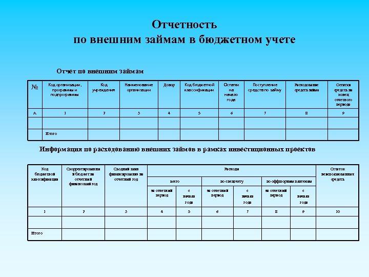 Отчетность по внешним займам в бюджетном учете Отчет по внешним займам № Код организации,