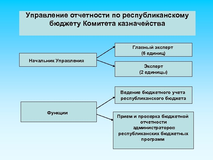 Управление отчетности по республиканскому бюджету Комитета казначейства Главный эксперт (6 единиц) Начальник Управления Эксперт
