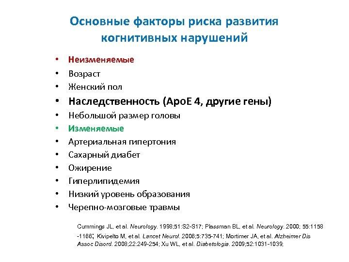 Основные факторы риска развития когнитивных нарушений • Неизменяемые • Возраст • Женский пол •