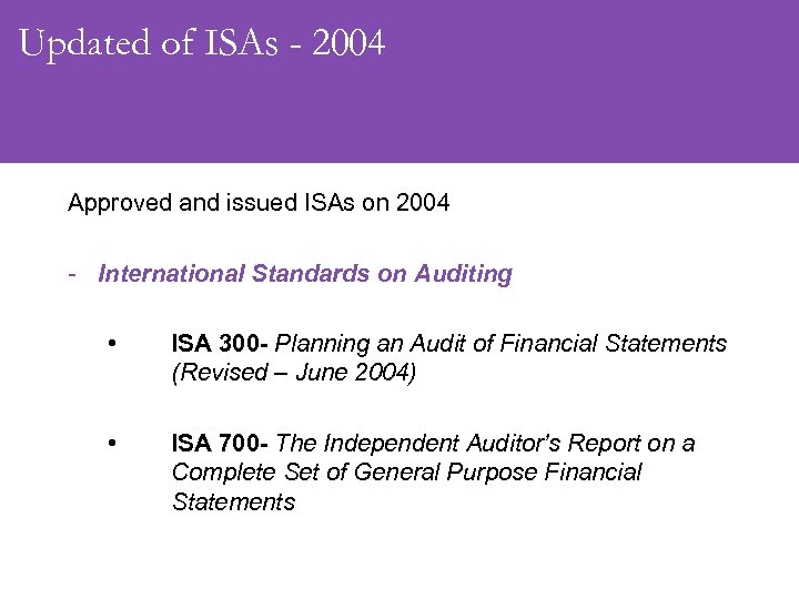 Updated of ISAs - 2004 Approved and issued ISAs on 2004 - International Standards