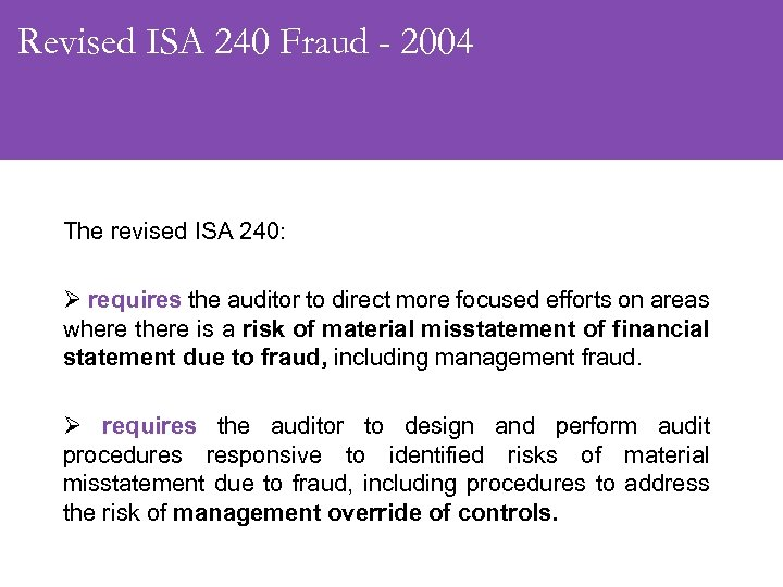 Revised ISA 240 Fraud - 2004 The revised ISA 240: Ø requires the auditor