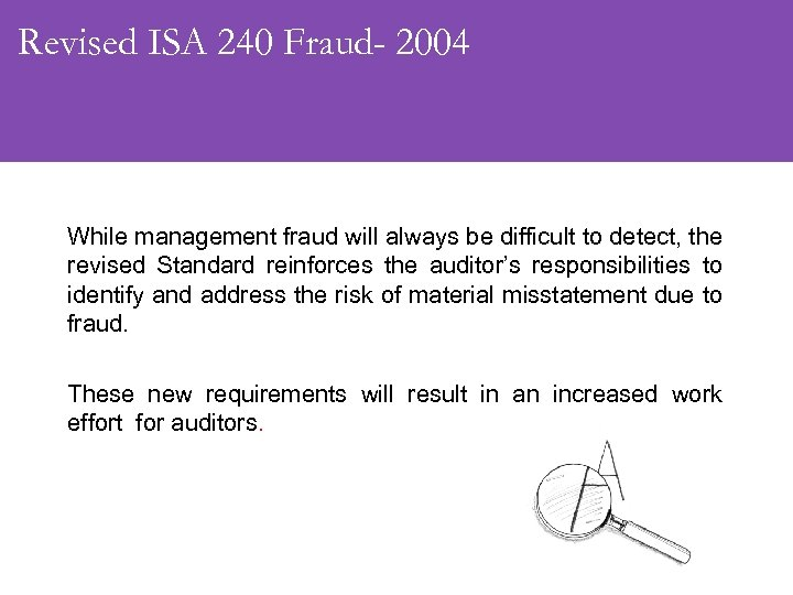 Revised ISA 240 Fraud- 2004 While management fraud will always be difficult to detect,