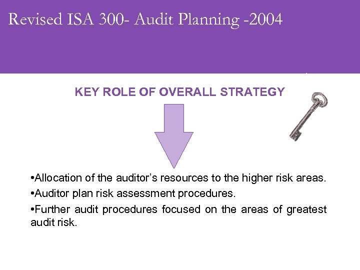 Revised ISA 300 - Audit Planning -2004 KEY ROLE OF OVERALL STRATEGY • Allocation