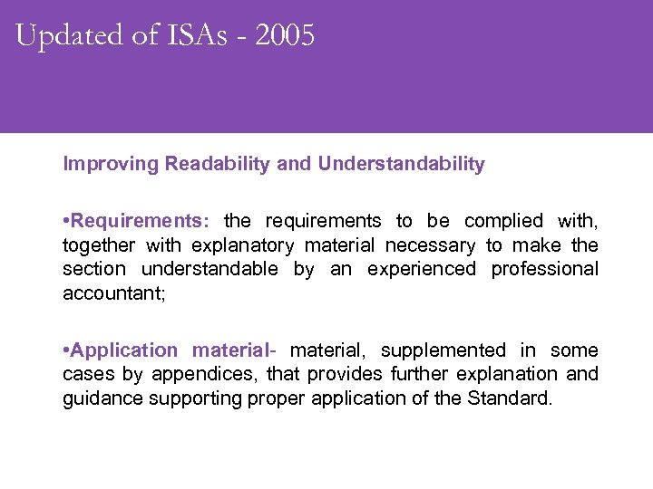 Updated of ISAs - 2005 Improving Readability and Understandability • Requirements: the requirements to