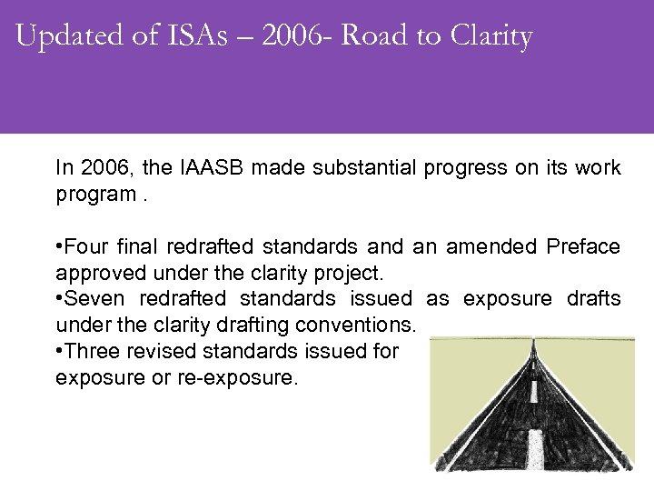 Updated of ISAs – 2006 - Road to Clarity In 2006, the IAASB made