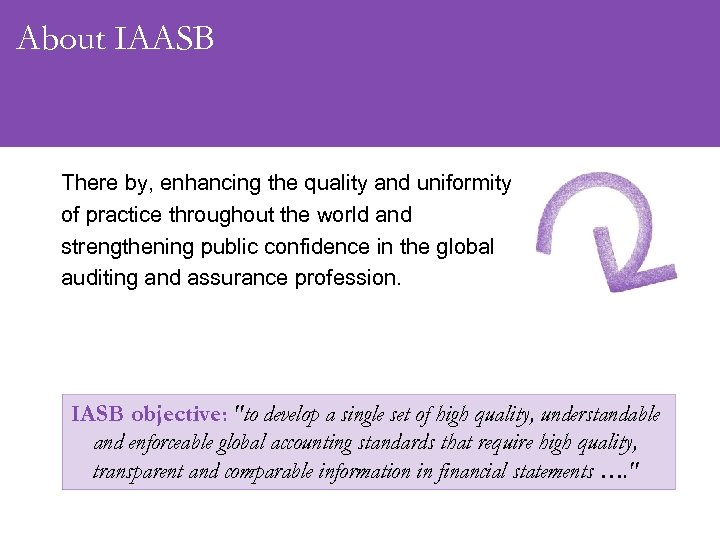 About IAASB There by, enhancing the quality and uniformity of practice throughout the world