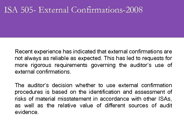 ISA 505 - External Confirmations-2008 Recent experience has indicated that external confirmations are not