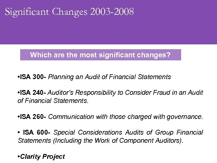 Significant Changes 2003 -2008 Which are the most significant changes? • ISA 300 -